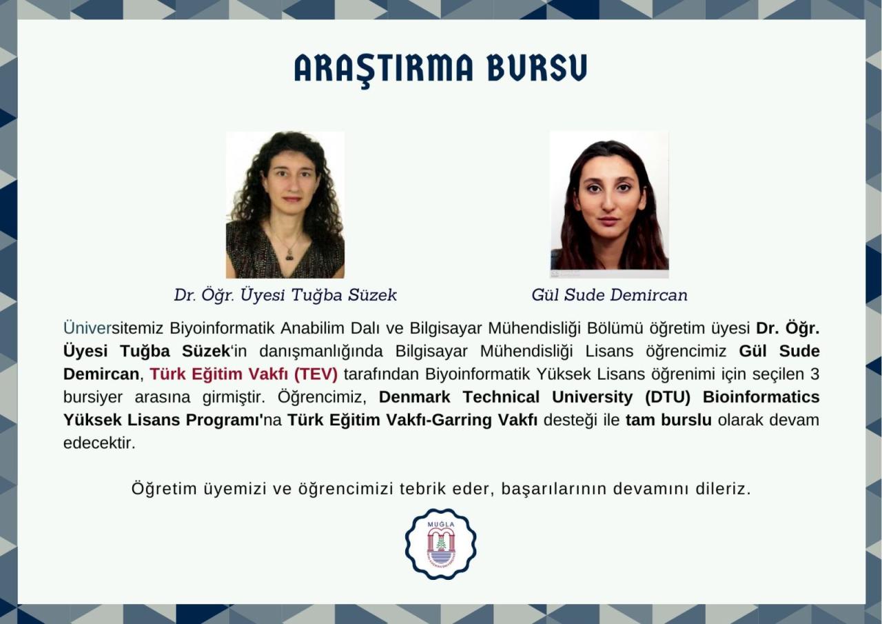 Öğrencimiz Gül Sude Demircan Türk Eğitim Vakfı-Garring Vakfı bursiyeri olarak Denmark Technical University (DTU) Bioinformatics yüksek lisans programına kabul edildi