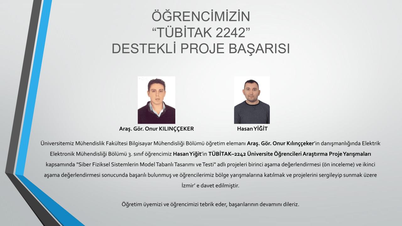 """Öğrencilerimizin """"TÜBİTAK 2242"""" Destekli Proje Başarısı"""